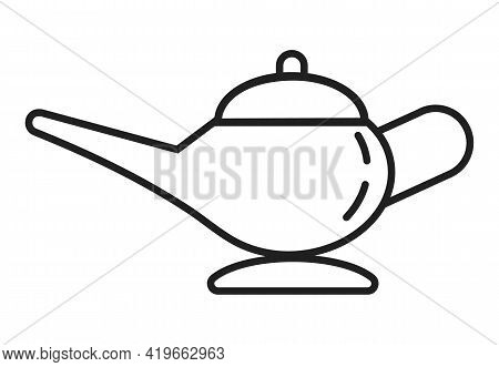 Oil Lamp Icon Vector In Line, Outline Style. Ancient Middle Eastern Genie Dish For Oil And Fire. Ala