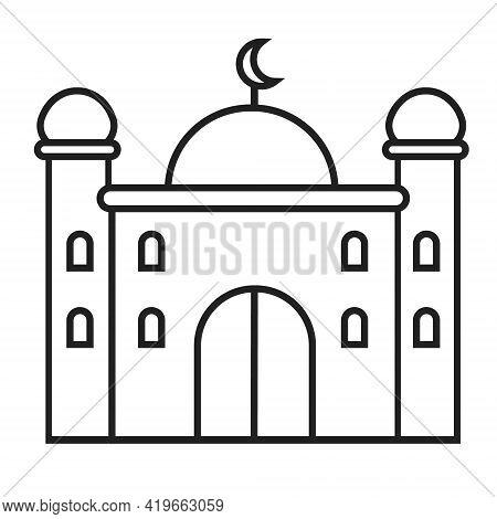 Simple Mosque Icon Line Vector For Ramadan Kareem, Eid Al-adha Islam Signs. Mosque, Koran Are Shown.