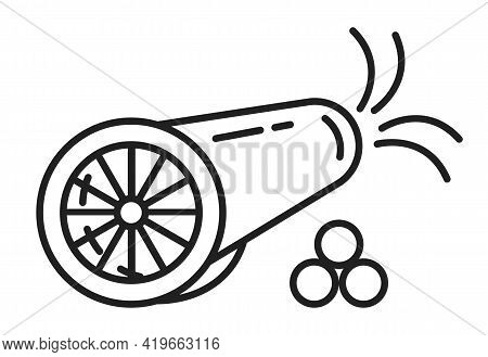 Cannon Icon Vector In Line, Outline Style. Artillery Gun For Shooting, Fireworks. Cannonballs, Shot