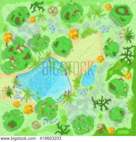 Site Improvement  Landscape And Tourist Camp In The Forest. (top View) Pond, Stones, Trees, Plants,