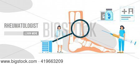 Rheumatoid Arthritis Of The Foot. Tiny Doctors Treat Rheumatism, Osteoarthritis, Make Ultrasound, X
