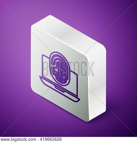 Isometric Line Laptop With Fingerprint Icon Isolated On Purple Background. Id App Icon. Identificati