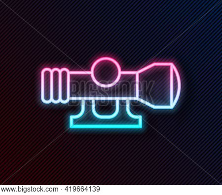 Glowing Neon Line Sniper Optical Sight Icon Isolated On Black Background. Sniper Scope Crosshairs. V