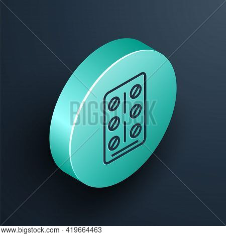 Isometric Line Pills In Blister Pack Icon Isolated On Black Background. Medical Drug Package For Tab