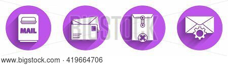Set Mail Box, Envelope, Delete Envelope And Envelope Setting Icon With Long Shadow. Vector