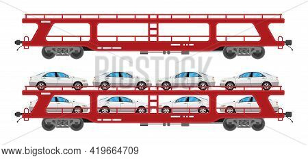 Car Carrier Wagon Isolated On White Background. Freight Flatcar With Automobiles. Part Of Cargo Trai