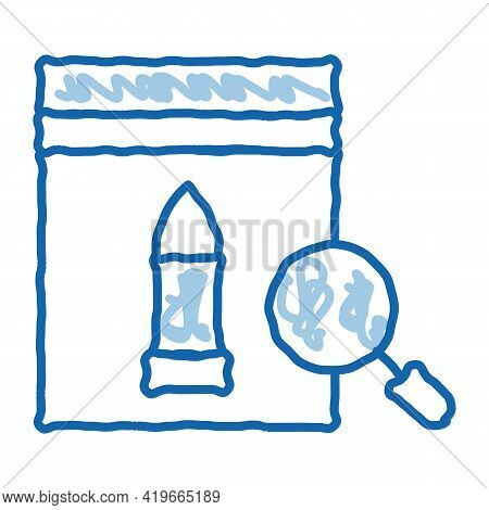 Bullet Evidence Poly Bag Sketch Icon Vector. Hand Drawn Blue Doodle Line Art Bullet Evidence Poly Ba