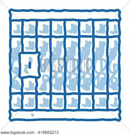 Police Prison Bar Gate Sketch Icon Vector. Hand Drawn Blue Doodle Line Art Police Prison Bar Gate Si