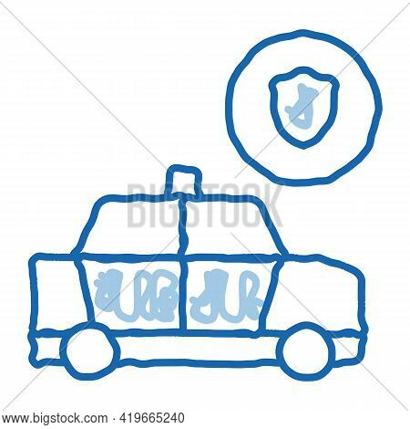 Police Car Machine Sketch Icon Vector. Hand Drawn Blue Doodle Line Art Police Car Machine Sign. Isol