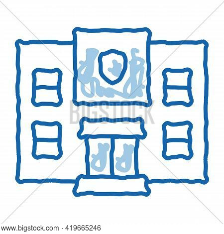 Police Department Build Sketch Icon Vector. Hand Drawn Blue Doodle Line Art Police Department Build