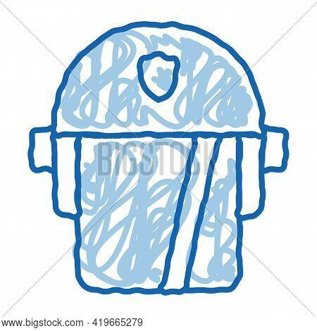 Policeman Swap Helmet Sketch Icon Vector. Hand Drawn Blue Doodle Line Art Policeman Swap Helmet Sign