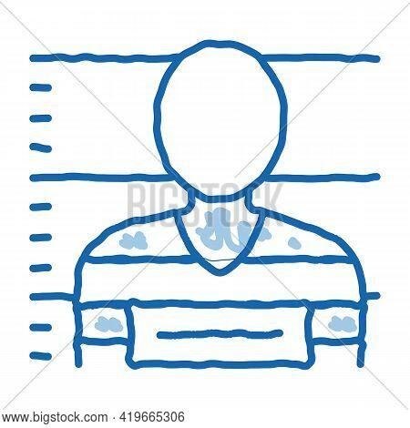 Criminal Bandit Photo Sketch Icon Vector. Hand Drawn Blue Doodle Line Art Criminal Bandit Photo Sign