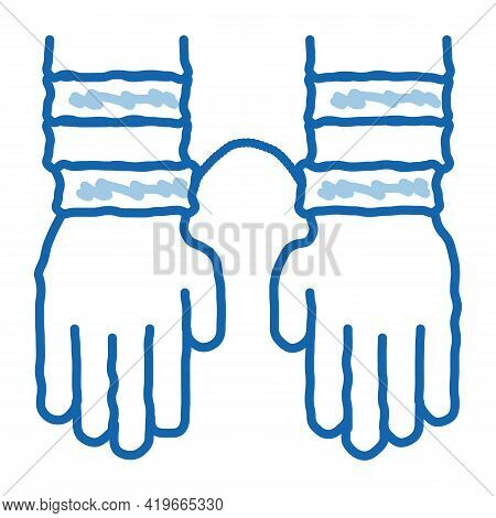 Criminal Hands In Irons Sketch Icon Vector. Hand Drawn Blue Doodle Line Art Criminal Hands In Irons