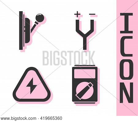 Set Multimeter, Electrical Panel, High Voltage And Electric Cable Icon. Vector