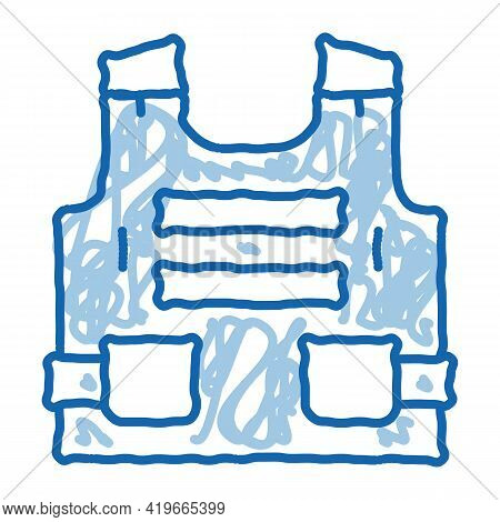 Police Body Safe Armor Sketch Icon Vector. Hand Drawn Blue Doodle Line Art Police Body Safe Armor Si