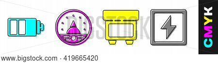 Set Battery Charge Level Indicator, Ampere Meter, Multimeter, Voltmeter, Fuse And Lightning Bolt Ico