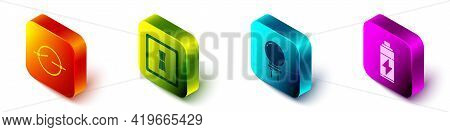 Set Isometric Electric Circuit Scheme, Electric Light Switch, Light Emitting Diode And Battery Icon.