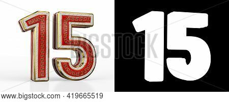 Number Fifteen (number 15) With Red Transparent Stripe On White Background, With Alpha Channel. 3d I