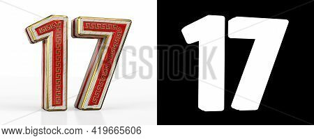 Number Seventeen (number 17) With Red Transparent Stripe On White Background, With Alpha Channel. 3d