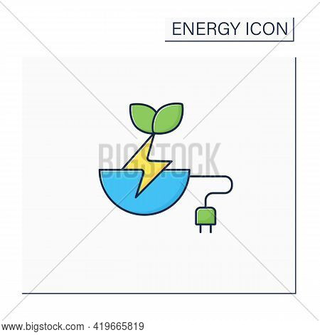 Biomass Energy Color Icon. Organic Energy Generation. Produced By Living Or Once-living Organisms. P