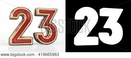 Number Twenty-three (number 23) With Red Transparent Stripe On White Background, With Alpha Channel.
