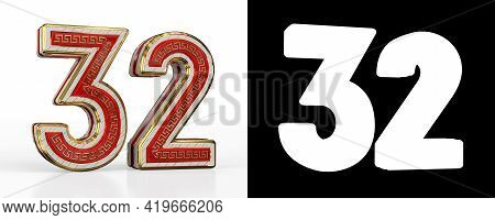 Number Thirty-two (number 32) With Red Transparent Stripe On White Background, With Alpha Channel. 3