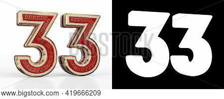 Number Thirty-three (number 33) With Red Transparent Stripe On White Background, With Alpha Channel.