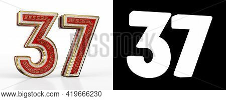 Number Thirty-seven (number 37) With Red Transparent Stripe On White Background, With Alpha Channel.