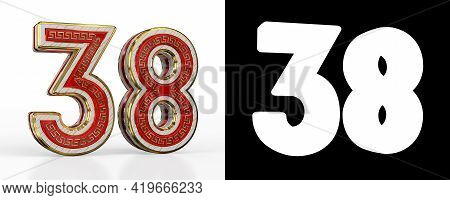 Number Thirty-eight (number 38) With Red Transparent Stripe On White Background, With Alpha Channel.