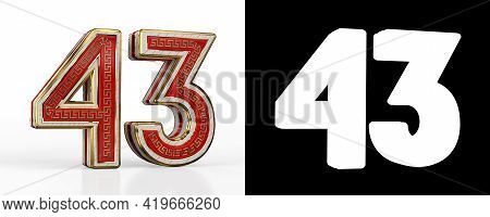 Number Forty-three (number 43) With Red Transparent Stripe On White Background, With Alpha Channel.
