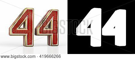 Number Forty-four (number 44) With Red Transparent Stripe On White Background, With Alpha Channel. 3