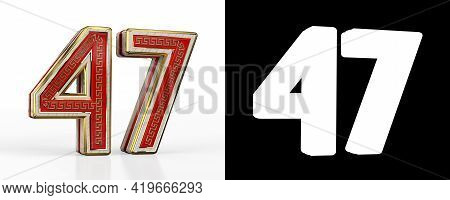 Number Forty-seven (number 47) With Red Transparent Stripe On White Background, With Alpha Channel.