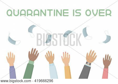 Quarantine Is Over. People Toss Medical Masks In The Air. Vector Illustration.