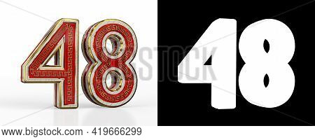 Number Forty-eight (number 48) With Red Transparent Stripe On White Background, With Alpha Channel.