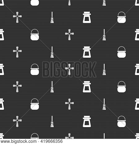 Set Bottle With Potion, Halloween Witch Cauldron, Tombstone Cross And Witches Broom On Seamless Patt