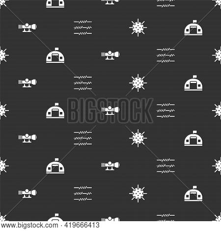 Set Naval Mine, Military Barracks, Sniper Optical Sight And Barbed Wire On Seamless Pattern. Vector