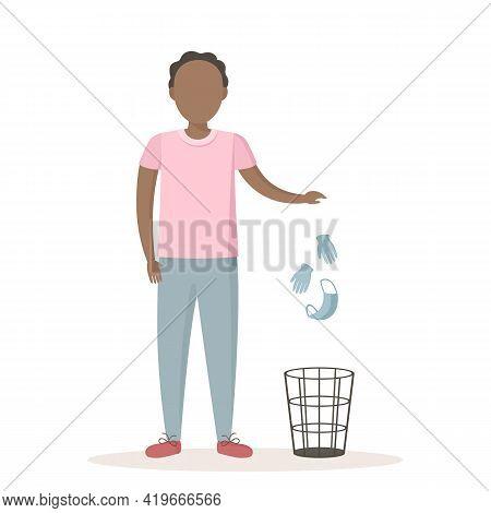 African Man Throw Medical Mask And Gloves In Wastebasket. Quarantine Ending. Vector Illustration.