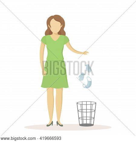 Caucasian Woman Throw Medical Mask And Gloves In Wastebasket. Quarantine Ending. Vector Illustration