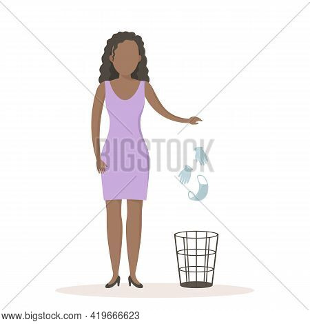 African Woman Throw Medical Mask And Gloves In Wastebasket. Quarantine Ending. Vector Illustration.
