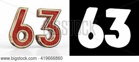 Number Sixty-three (number 63) With Red Transparent Stripe On White Background, With Alpha Channel.