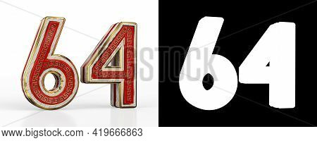 Number Sixty-four (number 64) With Red Transparent Stripe On White Background, With Alpha Channel. 3