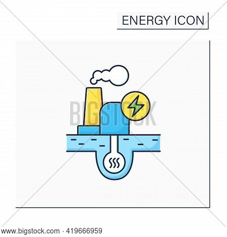 Geothermal Power Color Icon. Geothermal Energy. Dry Steam, Flash Steam, Binary Cycle Power Station.