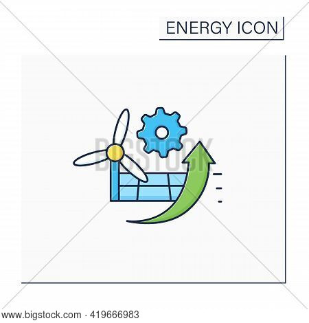 P2x Color Icon. Electricity Conversion, Energy Storage, And Reconversion Pathways.wind And Solar Ene