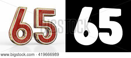Number Sixty-five (number 65) With Red Transparent Stripe On White Background, With Alpha Channel. 3