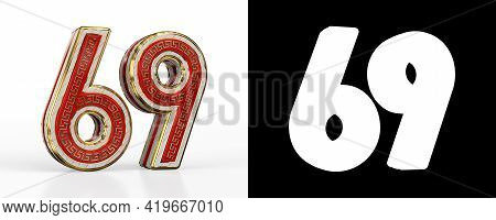 Number Sixty-nine (number 69) With Red Transparent Stripe On White Background, With Alpha Channel. 3