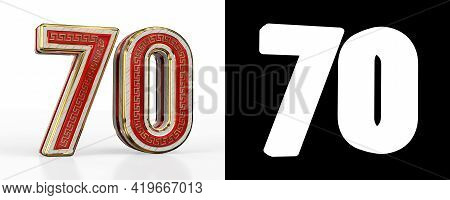 Number Seventy (number 70) With Red Transparent Stripe On White Background, With Alpha Channel. 3d I