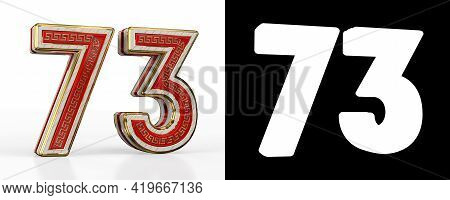 Number Seventy-three (number 73) With Red Transparent Stripe On White Background, With Alpha Channel