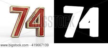 Number Seventy-four (number 74) With Red Transparent Stripe On White Background, With Alpha Channel.