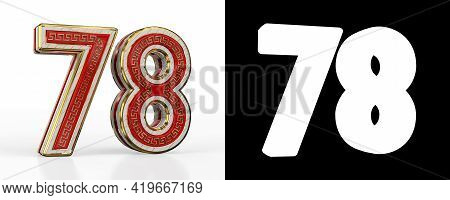 Number Seventy-eight (number 78) With Red Transparent Stripe On White Background, With Alpha Channel