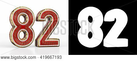 Number Eighty-two (number 82) With Red Transparent Stripe On White Background, With Alpha Channel. 3